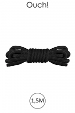 Mini corde de bondage 1,5m noire - Ouch : Corde douce en nylon noir, longueur 1,5m , pour bien débuter dans l'art du Shibari japonais.