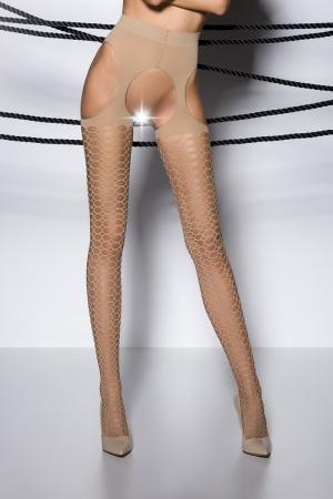 Collants ouverts TI004 - beige : Collants ouverts sur l'intimité et les hanches en voile beige décoré de motifs géométriques.