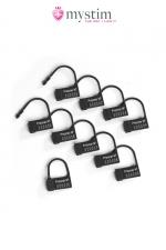 Scellés plastiques pour cage Pubic Enemy - Mystim : 10 cadenas plastique mono-utilisation pour sceller votre cage de chasteté.