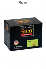 50 préservatifs Sico GRIP : Boite de 50 préservatifs transparents, lubrifiés, avec anneau renforcé et serré à la base pour un meilleur ajustement.